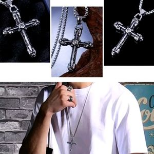 Goth Cross Pendant Chain Necklace For Men Male